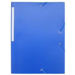 Chemise à élastiques 3 rabats polypro 4,5/10e souple et opaque A4 - Bleu