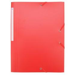 Chemise à élastiques 3 rabats polypro 4,5/10e souple et opaque A4 - Rouge