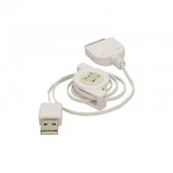 Cordon retractable 0.80m USB pour iPhone 4 blanc