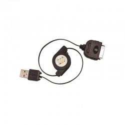 Cordon retractable 0.80m USB pour iPhone 4 noir