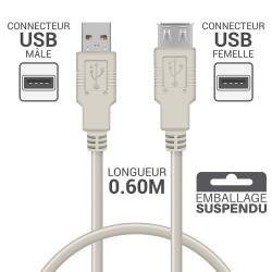 Rallonge USB 2.0 - 0.60m beige