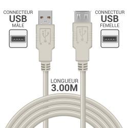 Rallonge USB 2.0 - 3.0m beige