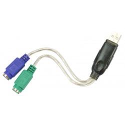 Adaptateur USB vers 2 ports PS2 clavier/souris