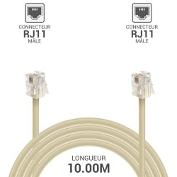 Cable telephone RJ11 M/M 10.00M beige